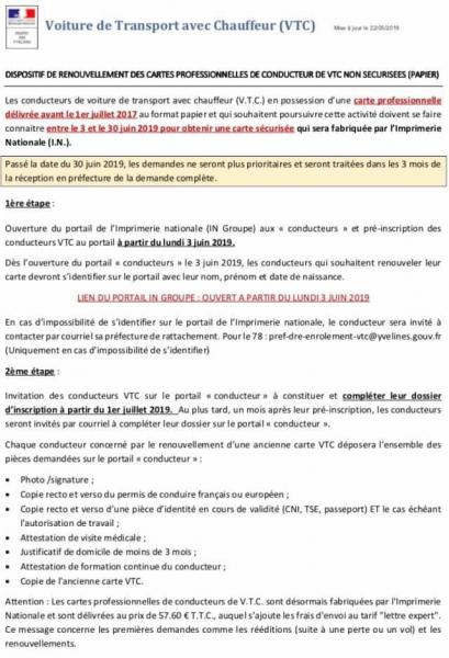 Carte Vtc 2019.Dispositif De Renouvellement Des Cartes Professionnelles De